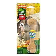 NYLABONE NET203P 1 Count Healthy Edibles Large Wild Turkey Dog Treat Bone