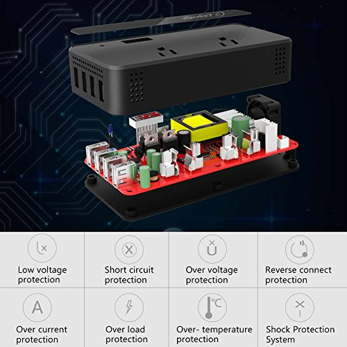 200W Car Power Inverter DC 12V to AC 110V Converter with Smart 4 USB Ports Adapter 2 AC Outlets Sockets Charger (Black) by LEICESTERCN (Image #1)