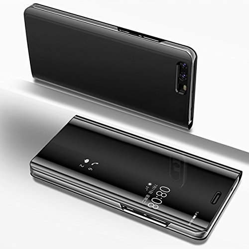 Huawei P10 Case,IKASEFU PU Leather Electroplate Plating Stand PC Mirror Flip Folio Cover Ultra Slim Thin Full Body 360 Protective Case for Huawei P10,PC Mirror Black by IKASEFU