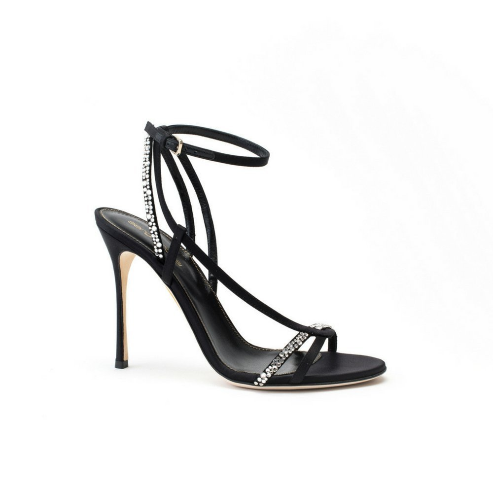 76c2252bd2 ... Rossi Sandals, Luxury Italian High Heels for Women, Black Open Toe  Single Sole Sandal, 105mm Heel, Crystal Strip, Satin & Leather, Made in  Italy | Shoes