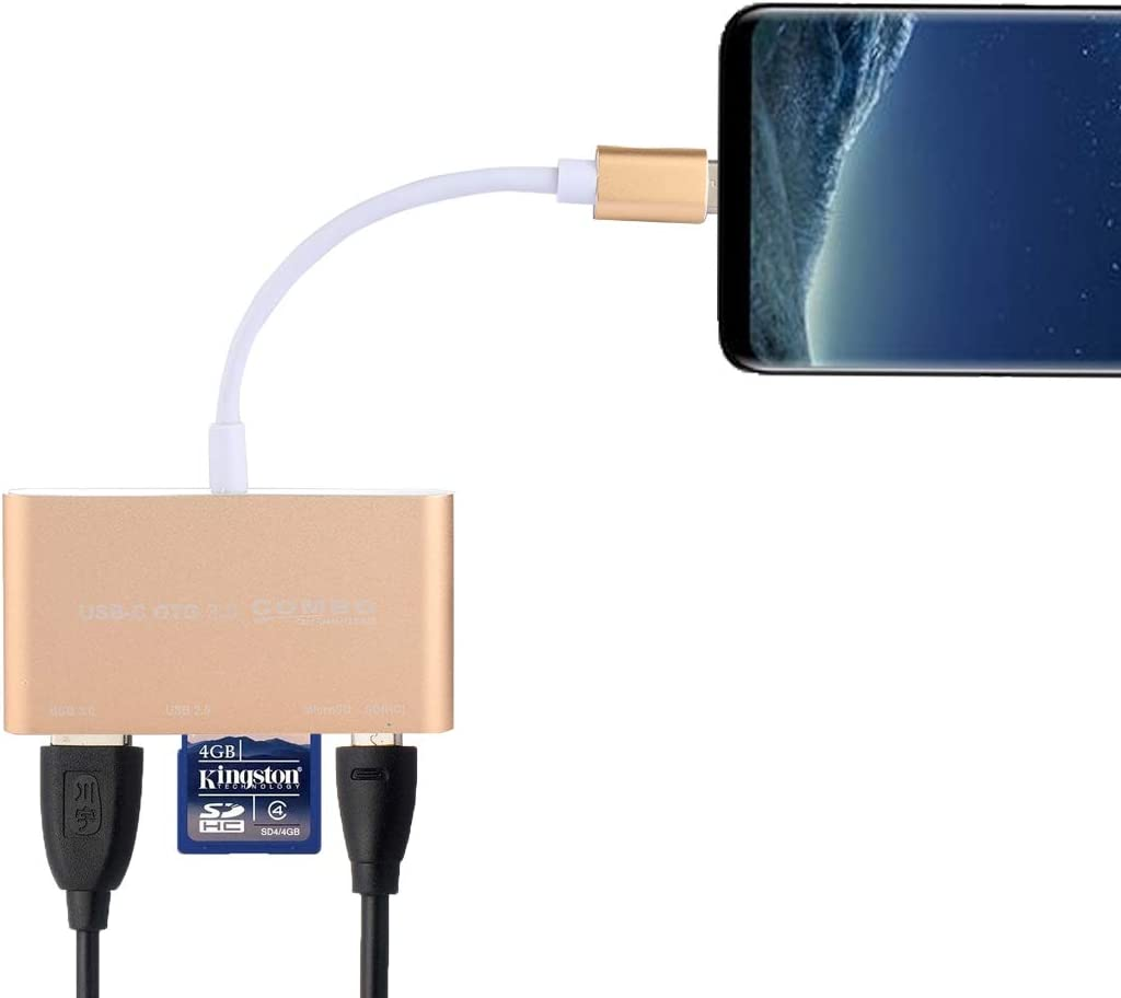 USB 2.0 DDTAO 5 in 1 Micro SD USB 3.0 Color : Gold Smartphone PC Micro USB Port to USB-C//Type-C OTG Combo Adapter Card Reader for Tablet Gold SD