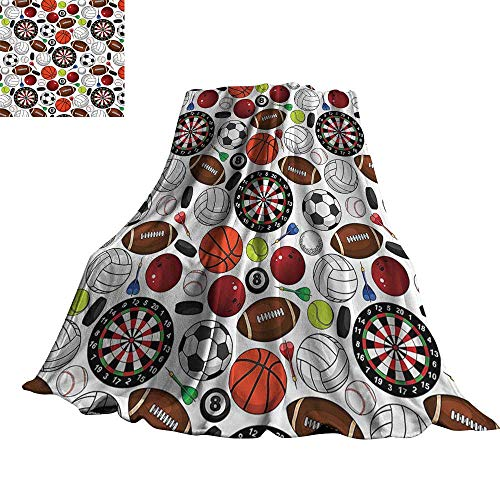 - WinfreyDecor Sports Decor Collection Living Room/Bedroom Warm Blanket Pattern with Billiards Balls Hockey Pucks Darts Arrows and Target Boards Image 60