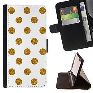 For Samsung Galaxy Note 5 5th N9200 Case , Modelo de lunar blanco minimalista- la tarjeta de Crédito Slots PU Funda de cuero Monedero caso cubierta de piel