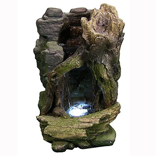 Sunnydaze Rustic Cave Outdoor Water Fountain with LED Lights, 21 Inch Tall