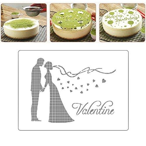 Cake Molds - Valentine Kissing Couple Spray Cake Mold Strew Pad Duster Fondant Art Stencil Diy Gift - Rose Ware Plastic Castle Dome Nordic Bundt Volcano Decorating Toddler Springform Wall Oven