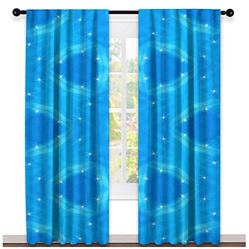 (Greatdecor Blue Abstract Seamless Colorful Wallpaper Texture Background Insulated Room Blackout Curtain(2 Panels, W55 x L63 Inch))
