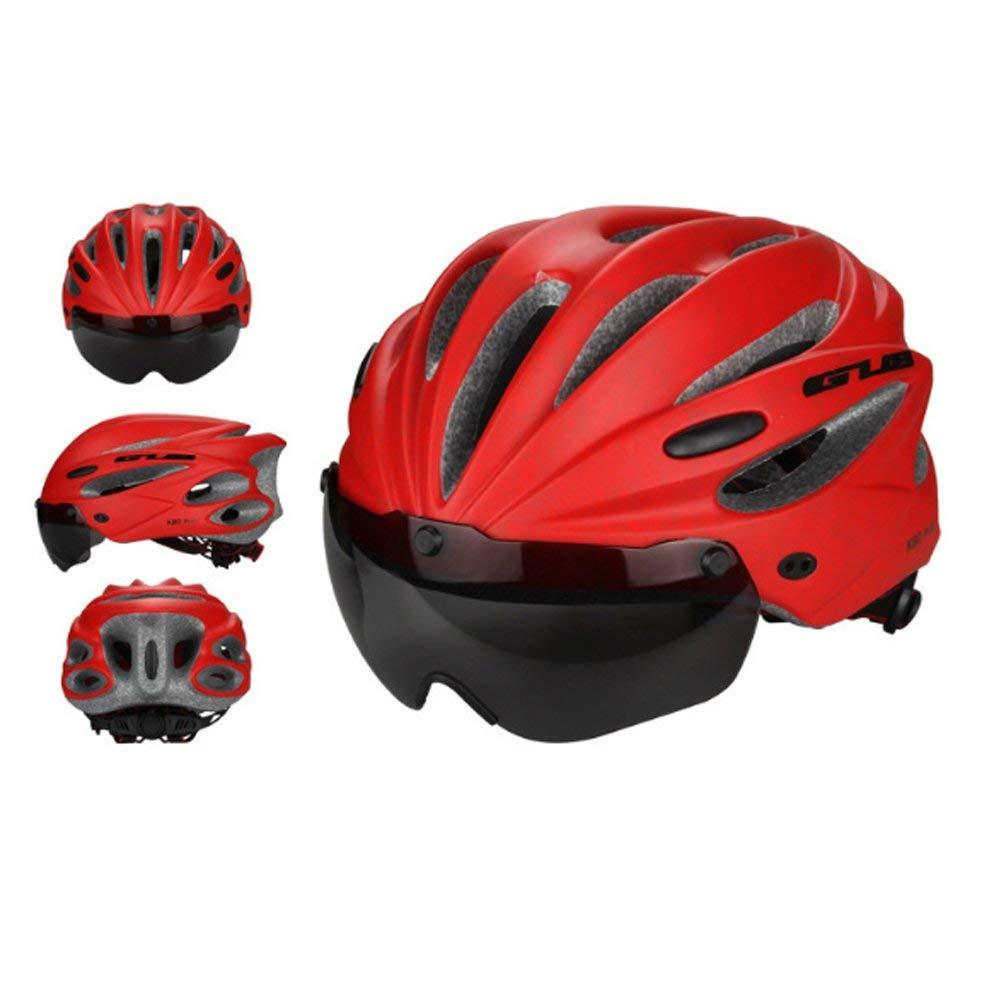 サイクリング自転車用ヘルメット メンズレディースサイクリングヘルメット調節可能超軽量安定ロードマウンテンバイクサイクリングヘルメット スポーツ用保護ヘルメット (色 : Red) B07MJFFWD6 Red