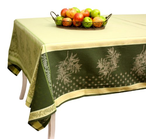 French Jacquard Tablecloth - Prestige - Olive Green - 100% Cotton - 137
