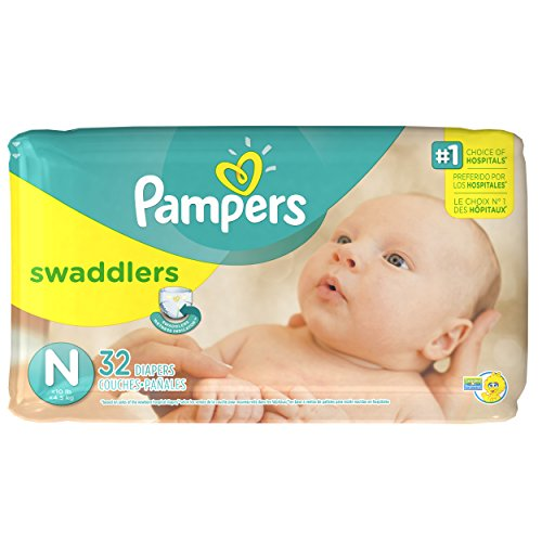 Pampers Swaddlers Diapers, Size N, Jumbo Pack, 32 ct