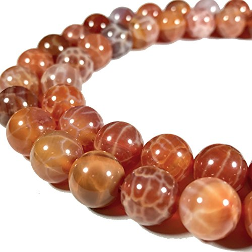 [ABCgems] African Fire Agate (Translucent- Beautiful Web Inclusions) 8mm Smooth Round Beads (Web Agate)