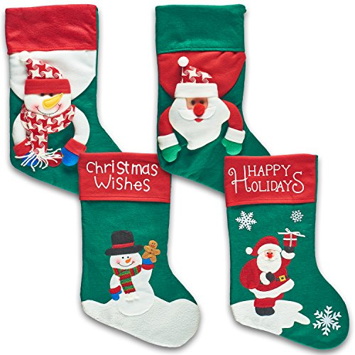 "Extra Large 17"" 3D Plush Christmas Stockings Felt Christmas Stocking"