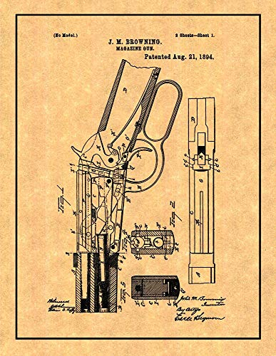 Winchester 1894 Lever Action Rifle Patent Print with Border (8
