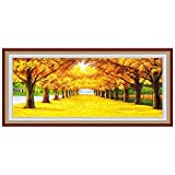Zamtac NEW 5D DIY Full square Diamond Painting Mosaic Golden scenery Rhinestone Embroidery Cross Stitch home decor gift - (Color: A, Size: 200X80)