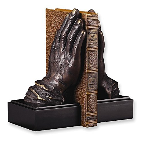 Praying Hands Brass - Jewelry Adviser Antiqued Gifts Antiqued Brass & Wood Praying Hands Bookends