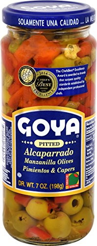 Goya Foods Pitted Alcaparrado Manzanilla Olives Pimientos & Capers, 7 Ounce (Pack of 24)