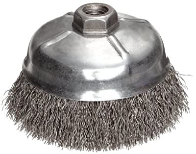 """Weiler Wire Cup Brush, Threaded Hole, Steel, Crimped Wire, 5"""" Diameter, 0.02"""" Wire Diameter, 5/8""""-11 Arbor, 1-1/4"""" Bristle Length, 8000 rpm (Pack of 1)"""
