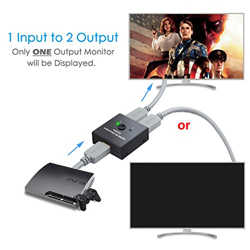 ESYNIC 4K HDMI Bi-directional Switch 2X1 or 1X2 HDMI Splitter with 60m HDMI 2.0 Cable Support HDTV Blu-Ray DVD Satellite DVR Xbox PS3 PS4 Fire TV stick Fire TV ROKU Apple TV by eSynic (Image #2)