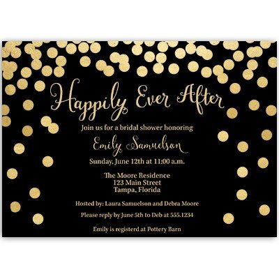 Bridal Shower Invitations, Wedding, Black, Gold, Sparkle, Bling, Confetti, Personalized, Bubbly, Set of 10 Custom Printed Invites with Envelopes, Happily Ever After