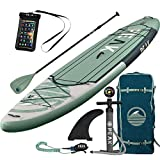PEAK 11' Expedition Moss Inflatable Stand Up Paddle Board with Adj Paddle, Travel