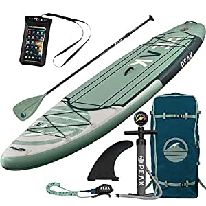 PEAK 11' Expedition Moss  Inflatable Stand Up Paddle Board with Adj Paddle, Travel Backpack and Coil Leash (Moss)