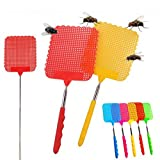 Mega Shop Fly Swatter Manual Colour Random Packs Of 6pcs Long 10.23'' Extend Stretch 28.74'' - Extendable Stainless Steel Telescopic Handle Plastic - Fly Prevent Mosquito Swatters Pest Traps