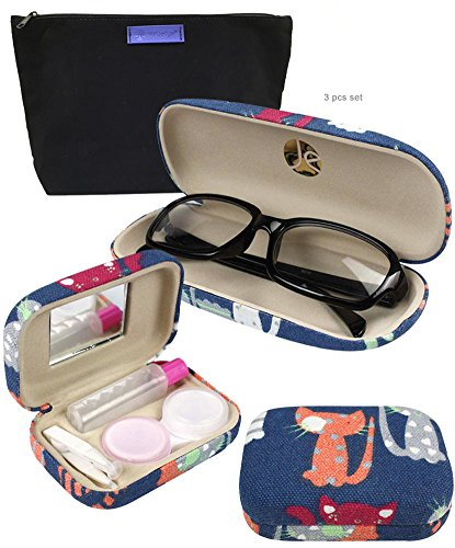 JAVOedge Cat Pattern Fabric Covered Eyeglass / Reading Glass Hard Case + Contact Lens Kit Case + Cleaning Cloth