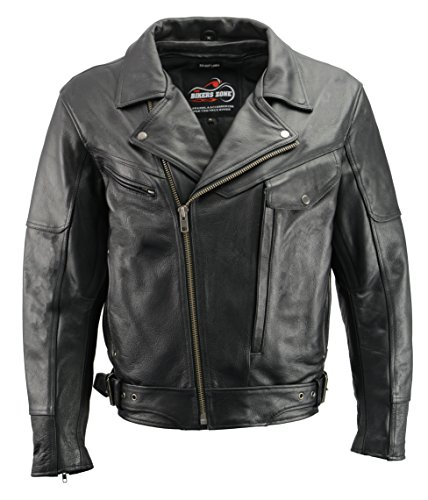 - Men's Leather Pistol Pete Mototrcycle Jacket | Premium Natural Buffalo Leather | Gun Pockets | Black Traditional Police Jacket (Black, 3X)