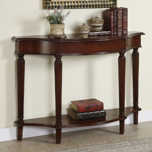 Powell Dining Table Set (Powell Masterpiece Console Table with 4 Reeded Legs with Lower Shelf)