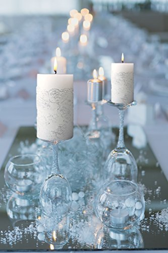 Embossed Pillar Candle (Valentine's Day White Pillar Candles Silver 2 Pack 5