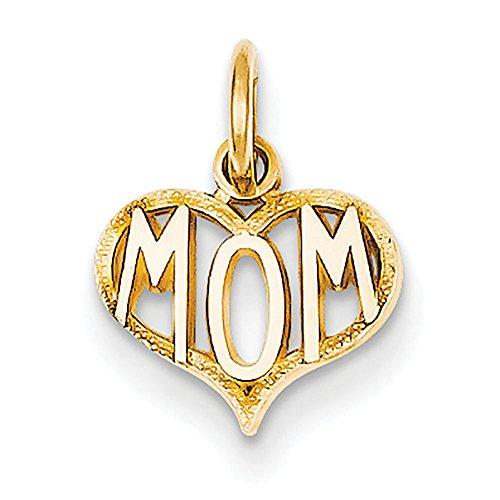 Qg 14k Charm Bracelet (14K Yellow Gold Mom Word Inside Open Heart Charm 15x10mm)