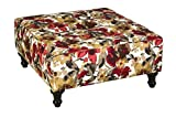 Square Upholstered Ottoman Coffee Table Leffler Home 12000-19-38-01 Hamilton Elegant Square Upholstered Ottoman Coffee Tables, Red