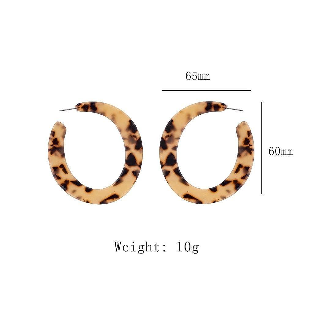 Acrylic Earrings for Women Girls Leopard Print Mottled Hoop Earrings Bohemia Geometry Resin Hoops Stud Earrings Fashion Jewelry
