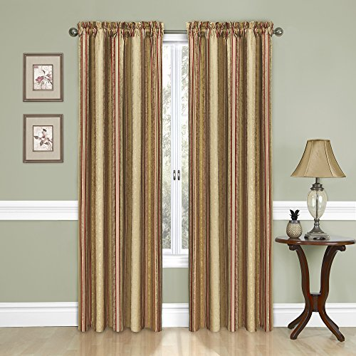 Traditions by Waverly 14316052084ANT Stripe Ensemble 52-Inch by 84-Inch Single Window Curtain Panel, Antique
