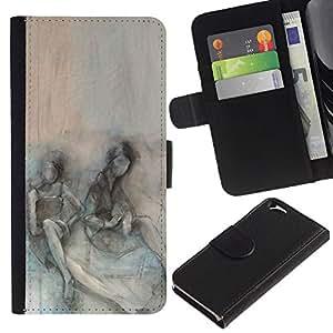 EJOY---La carpeta del tirón la caja de cuero de alta calidad de la PU Caso protector / Apple Iphone 6 / --Somber Pareja Depresión trullo