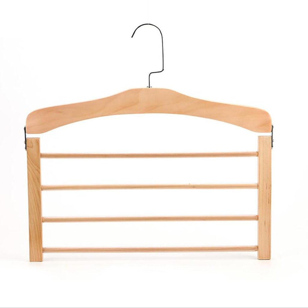 Ymj Solid Wood Hanger Household Wooden Clothes Shelf Multi - Functional Finishing Racks Multi - Layer Hanger Set Of 2 (Color : 1)