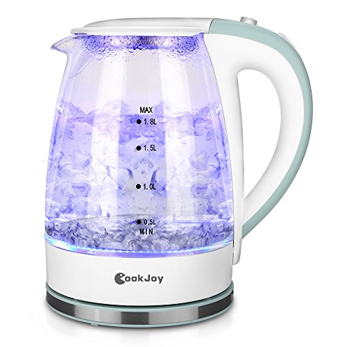 CookJoy 1.8L Water Kettle, 1500W Electric Glass Tea Kettle with LED Illumination, Heat-resistant borosilicate glass, Safety ()