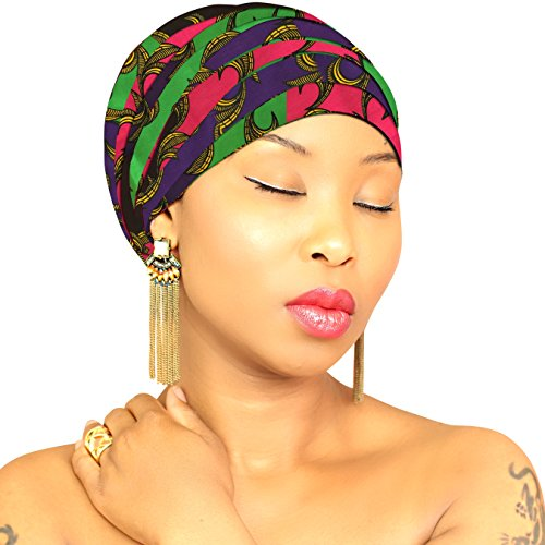 Headwraps for women AUTHENTIC AFRICAN FABRIC Hijab HeadWrap Head Scarf African Head wrap Scarf African American African Head Wrap Turban ROYAL HEAD ()