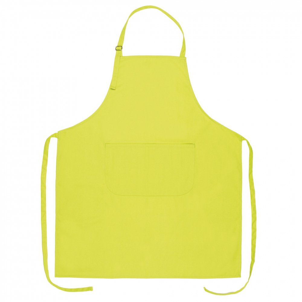 eBuyGB Set of 10 Full Length Cotton Kitchen Apron - Chef Cooking Aprons with Front Pocket and Adjustable Head Strap (Lime Green)