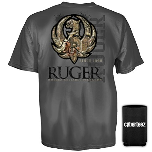 Ruger Sturm (Sturm Ruger & Co Charcoal Camo Stitch American Firearms Men's T-Shirt + Coolie (S))