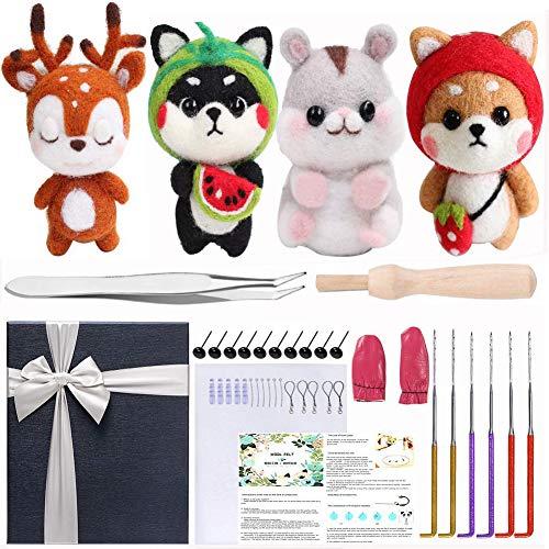 Needle Felting Starter Kit, 4 Pcs Doll Making Manual, 1 Pcs Felting Tool Instruction, Felting Foam Mat, 6 Felting Needles, Compact Wool Felting Supplies for Arts & Crafts, Decorations, Festival