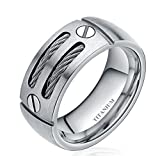 8mm Men's Flat Black Tone Titanium Ring Band with Stainless Steel Cables and Screw Design (11)