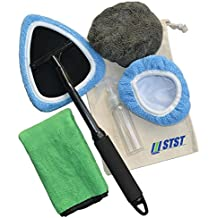 Car Cleaning Tool Kit Car Windshield Cleaner Auto Glass Wiper, 1Pc Windshield Cleaner with 2Pcs Microfiber Bonnets 1Pc Microfiber Cloth 1Pc 100ML Spray Bottle 1Pc Storage Bag Set of 6 Black Large Size