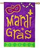 Cheap Evergreen Mardi Gras Icons Applique House Flag, 29 x 43 inches