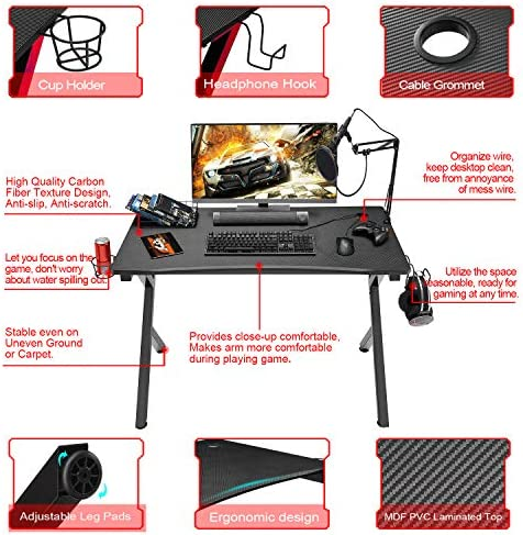 "Mr IRONSTONE Gaming Desk 45.2"" W x 23.6"" D Home Office Desk, Gaming Workstation with Power Strip of 3-Outlet & 2 USB Ports, Cup Holder, Headphone Hook, and Cable Management (Red)"