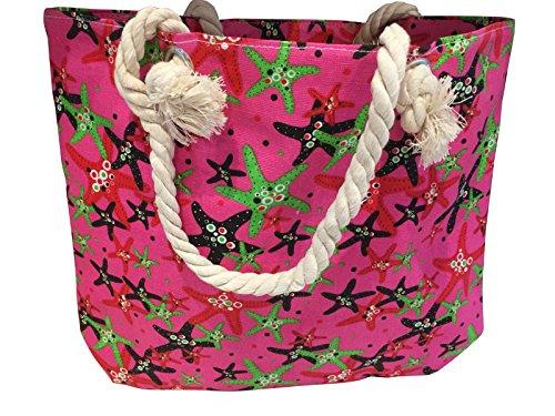 sacchetto di stile luminoso e colorato modello stella marina a portata di mano tote con manici di corda (Rosa)