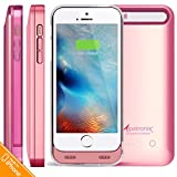 Alpatronix BX120 2400mAh Slim Battery Case Rechargeable Protective External Portable Charger Cover Compatible for iPhone 5, iPhone 5S & iPhone SE Juice Bank Power Pack Charging [MFi] - Rose Gold