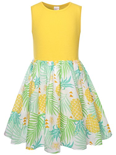 Bonny Billy Girls Clothing Easter Pineapple Print Cotton Beach Tanks Kids Dress Size 7 8 Yellow by Bonny Billy