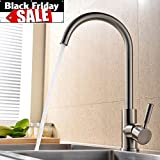 VAPSINT 360 Degree Swivel Good Valued Modern Hot& Cold Mixer Stainless Steel Single Handle Brushed Steel Kitchen Sink Faucet, Easy Installation Brushed Nickel Kitchen Faucets