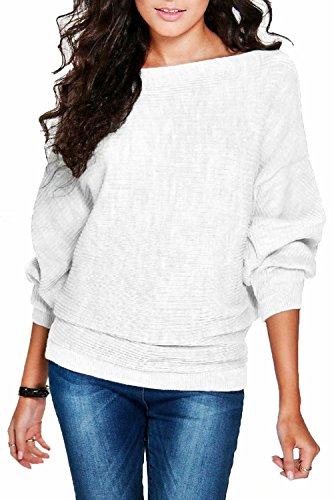 FOUNDO Womens Casual Loose Knit Bat Sleeve Blouse Knitted Sweater Pullover Tops White S