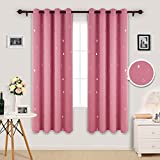 Deconovo Window Treatment Super Soft Thermal Insulated Silver Water Drop Printed Nursery Curtains Blackout Eyelet Blackout Curtains for Kids with Two Matching Tie Backs 46 x 72 Inch Pink Two Panels